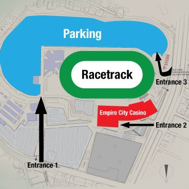 Overhead illustration showing public entrances to the parking lot, race track and casino.