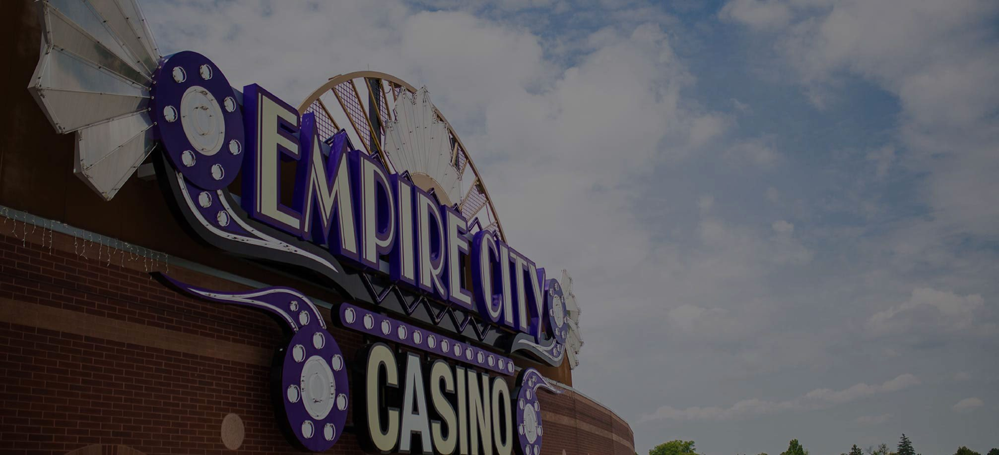 Exterior photo of the Empire City Casino sign on the side of the building