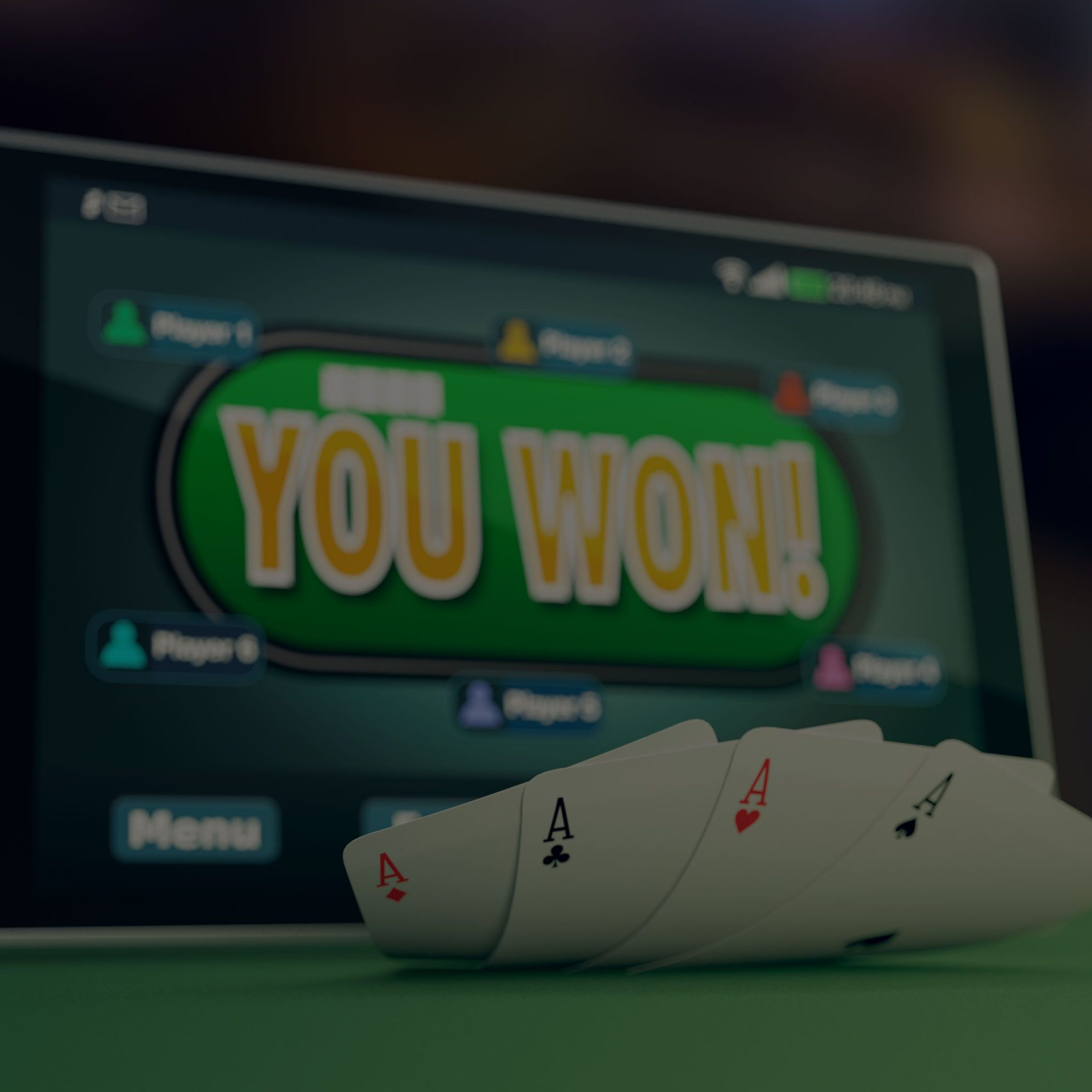 Image of a video poker screen, displaying the text You Won and four aces